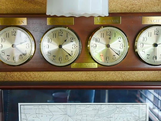 A clock for different time zones is seen aboard The