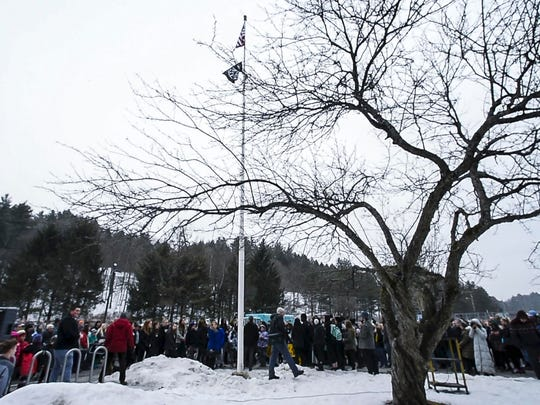 A Black Lives Matter flag was raised over Montpelier High School during a school-wide assembly on Thursday, February 1, 2018.  More than 100 people attended the ceremony including students from other schools, law enforcement and elected officials.