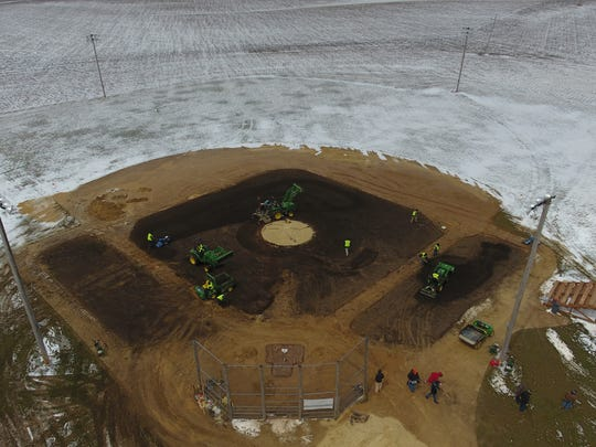 A look at the Field of Dreams diamond as it was being repaired
