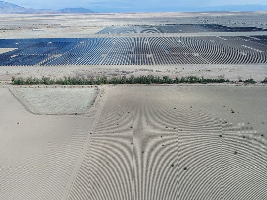The Seville solar project at Allegretti Ranch in Imperial County, seen from a drone. A ZGlobal client proposed to build another solar farm here, but the $75-million contract was canceled by the Imperial Irrigation District.