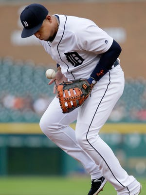 Tigers first baseman Miguel Cabrera blocks the ball hit by Royals centerfielder Paulo Orlando during the first inning of the Tigers' 4-1 loss Wednesday at Comerica Park.