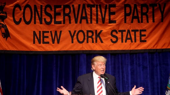 Donald Trump speaks to the New York State Conservative Party after receiving the party's nomination for president at the Marriott Marquis hotel in New York City Sept. 7, 2016.