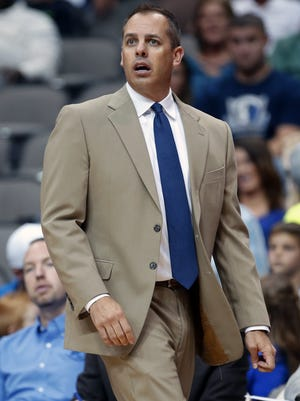 Indiana Pacers head coach Frank Vogel, shown here at the Dallas Mavericks game on Sunday, Oct. 12, is looking forward to the test Lebron James and the Cavs will provide in Wednesday's neutral site preseason game.