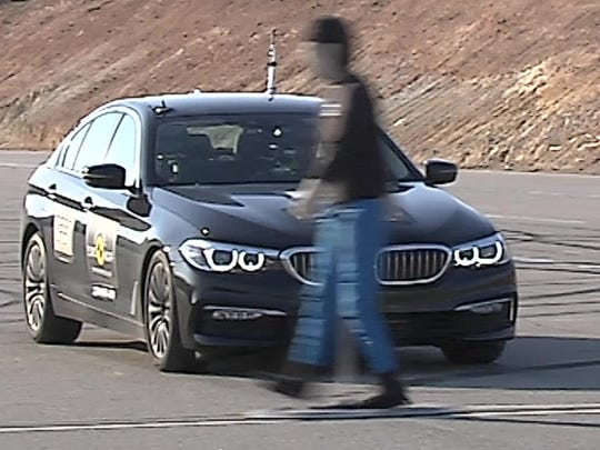 This is an image from a video showing how vehicles are tested in Europe to determine pedestrian safety ratings. (Courtesy of Euro NCAP)