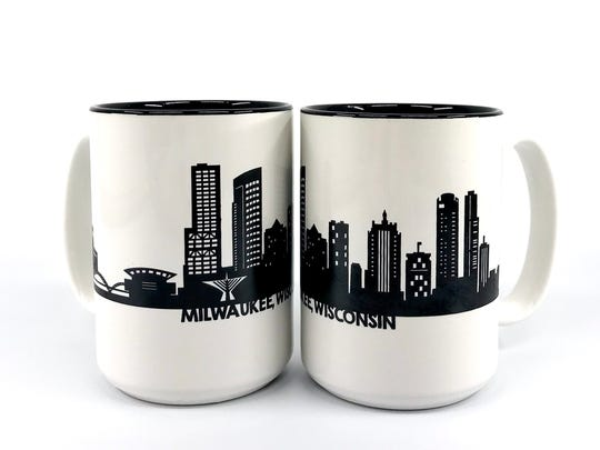 Paper Pleasers uses the Milwaukee skyline on mugs, towels and other home items.