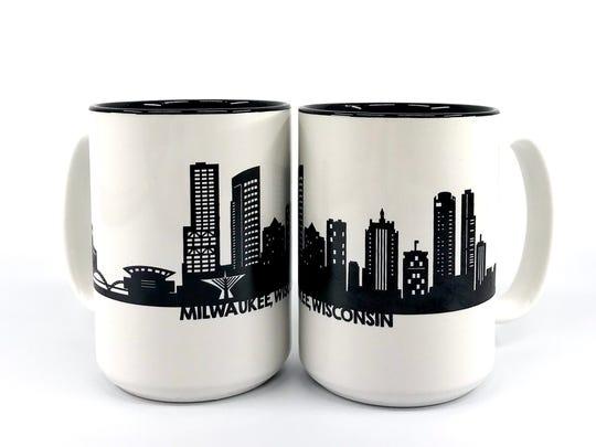 Paper Pleasers uses the Milwaukee skyline on mugs,