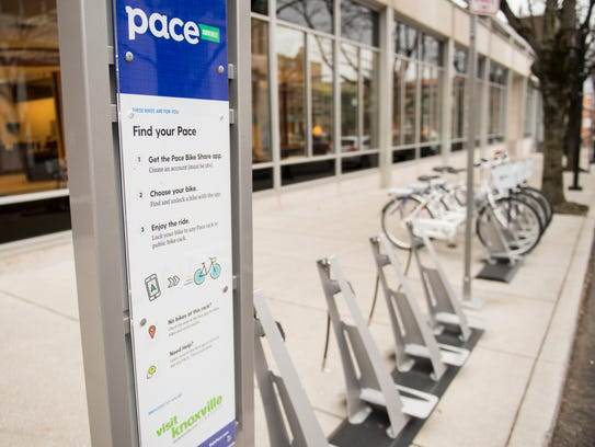 A Pace bike share rack stands at the corner of Market Street and Clinch Avenue in downtown Knoxville on Thursday, February 1, 2018.