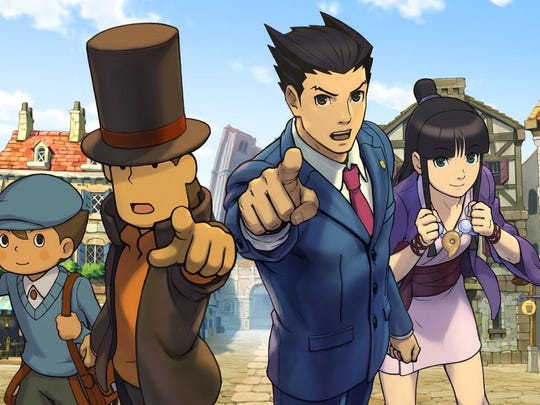 """Professor Layton vs. Phoenix Wright: Ace Attorney"" brings together two iconic characters for portable gamers."