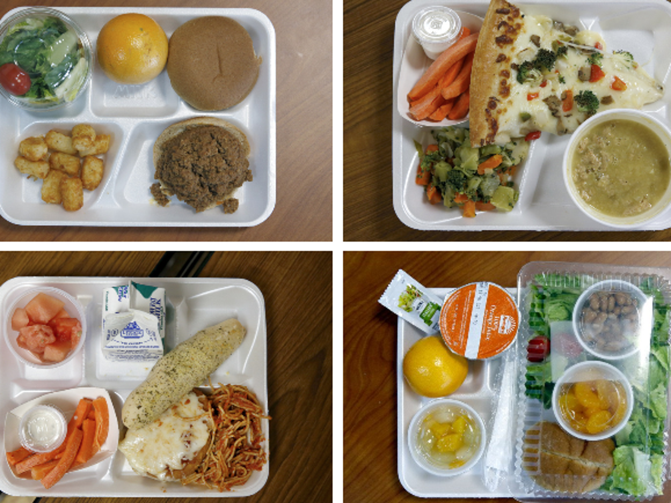 A sampling of school lunches from different schools