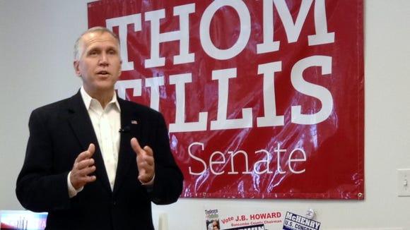 Thom Tillis campaigns for U.S. Senate in Asheville last October.
