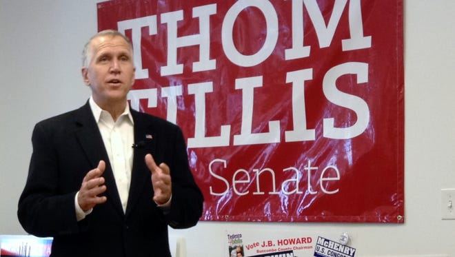 Thom Tillis campaigns for U.S. Senate in Asheville last October.