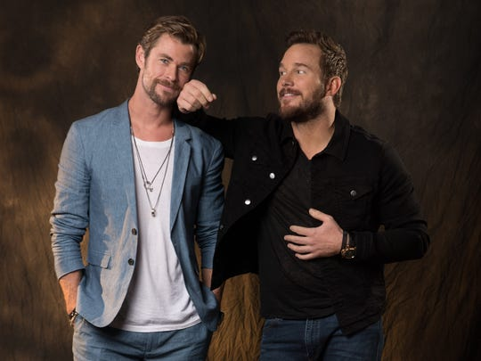 "Chris Hemsworth, left, and Chris Pratt pose for a playful portrait at the Montage Hotel in Beverly Hills while promoting ""Avengers: Infinity War."""