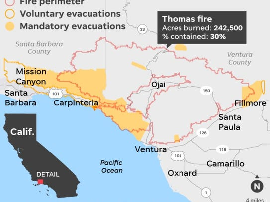 This map shows the Thomas Fire's burn area. It's scorched