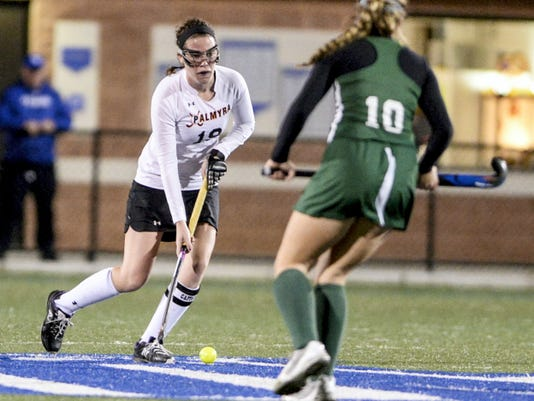 Palmyra's Carli Herman controls the ball at midfield during her two-goal performance on Thursday night.