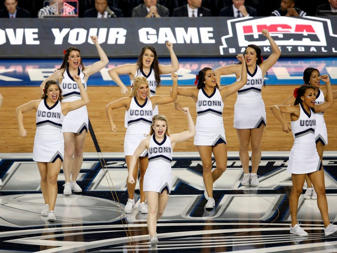 Connecticut Huskies cheerleaders perform during the championship game.