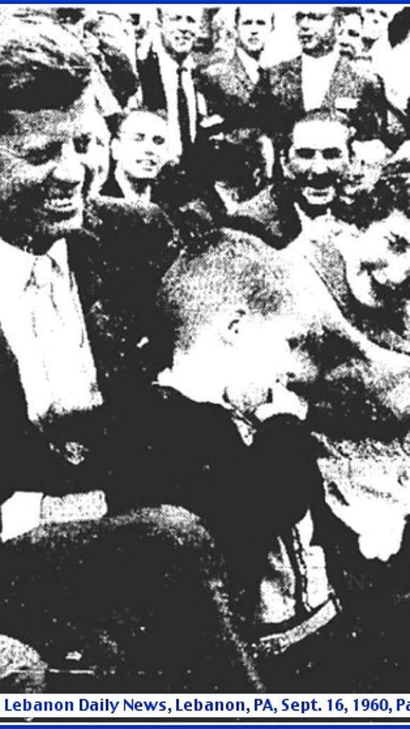 Senator John F. Kennedy at Campaign Rally in Lebanon, PA (Front Page of September 16, 1960, issue of the Lebanon Daily News; Daily NEWS Photo)