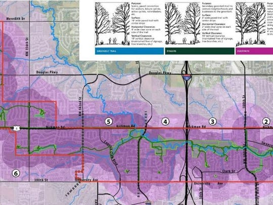 This graphic shows how the Clive Greenbelt Trail will connect with surrounding neighborhoods and businesses.