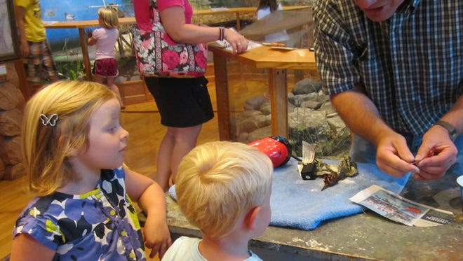 Master taxidermist Mike Orthober answers questions from young visitors as he prepares a bird for mounting during a recent demonstration at the Door County Historical Museum.