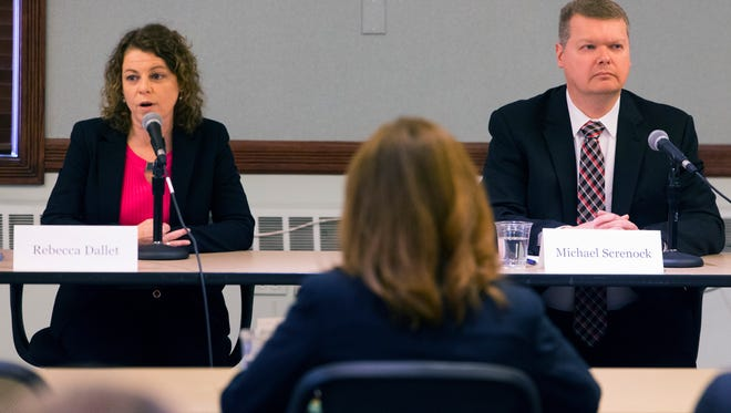 Wisconsin Supreme Court candidates Rebecca Dallet (left) and Michael Michael Screnock appear at forum at the Milwaukee Bar Association.