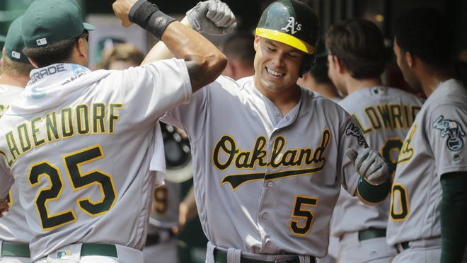 The Oakland Athletics' Jake Smolinski (5) celebrates one of his 16 career major league home runs, the most ever by a Rockford native.