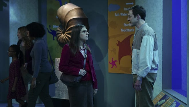 Amy (Mayim Bialik), left, and Sheldon (Jim Parsons) spend Thanksgiving together as friends on Thursday's episode of CBS' 'The Big Bang Theory.'