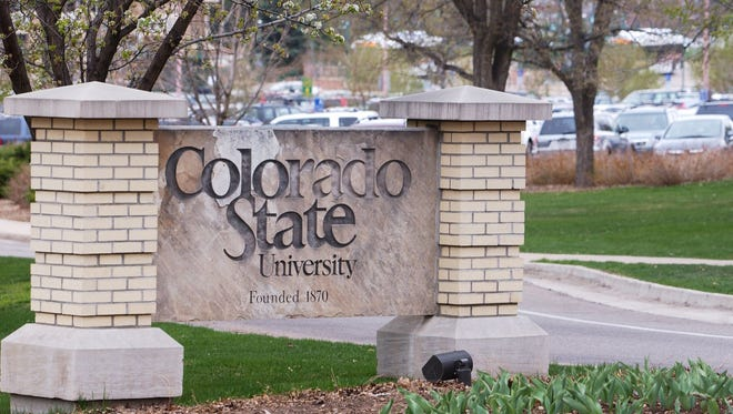 The Colorado State University sign on the north sign of campus.