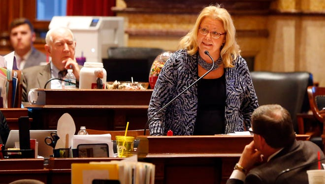 Iowa State Senator Pam Jochum debates SF 2383 ways and means tax reform bill in the Iowa Senate Wednesday, Feb. 28, 2018.