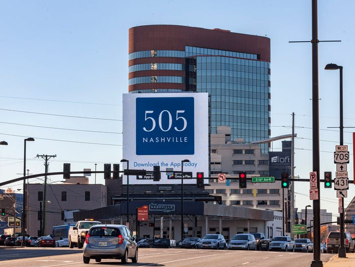 An ad for the 505 skyscraper on The Nashville Sign