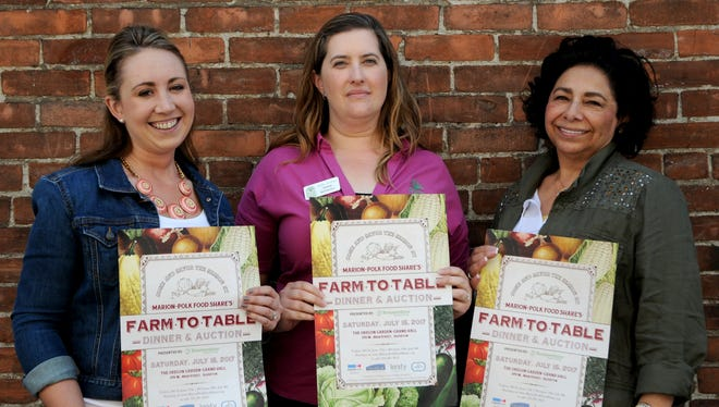 Marion-Polk Food Share's Savannah Langdon, Heather McPherson and Vicki Schneider promote the non-profit's upcoming farm-to-table dinner during the Statesman Journal's Holding Court at the Court Street Dairy Lunch in downtown Salem on Tuesday, June 6, 2017.