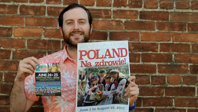 World Beat assistant director Evan Bosch invites volunteers to help out with one of Salem's biggest festivals during the Statesman Journal's Holding Court at the Court Street Dairy Lunch in downtown Salem on Tuesday, June 6, 2017.