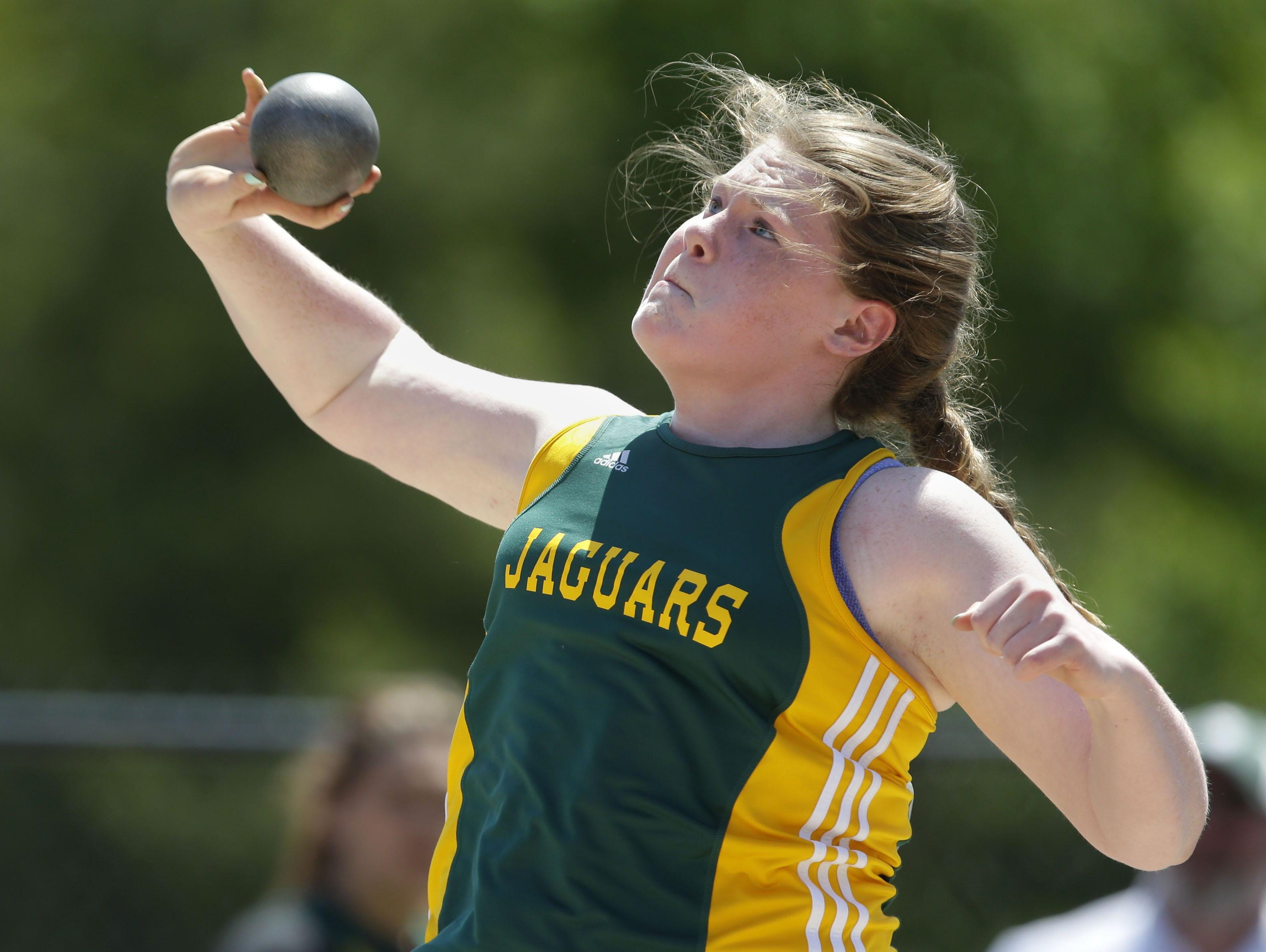 Erin Dunning of Ashwaubenon throws the shot put at the Division 1 WIAA state track and field meet.