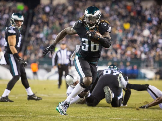 Philadelphia's Jay Ajayi breaks towards the end zone and would go on to score during their game against the Raiders Monday night at Lincoln Financial Field.
