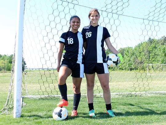 Sussex Tech's Michelle Laz, left, and Leslie Fazio are captains of the girls soccer team as well as best friends.