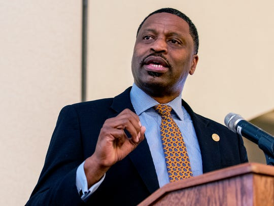 Derrick Johnson, NAACP president, gives his keynote