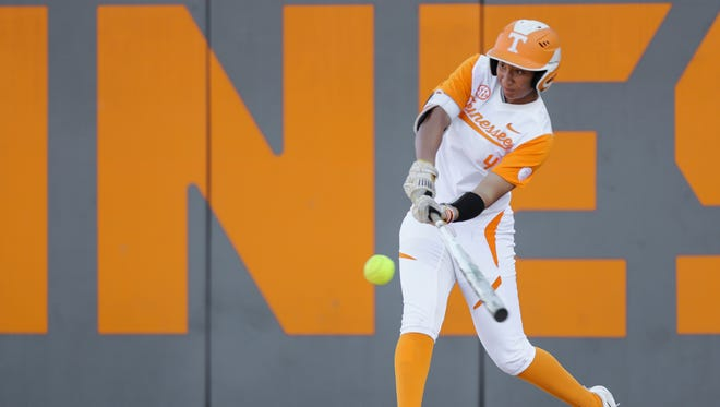 Tennessee's Brooke Vines swings at a pitch during Tuesday's game against Eastern Kentucky  at Sherri Parker Lee Stadium.