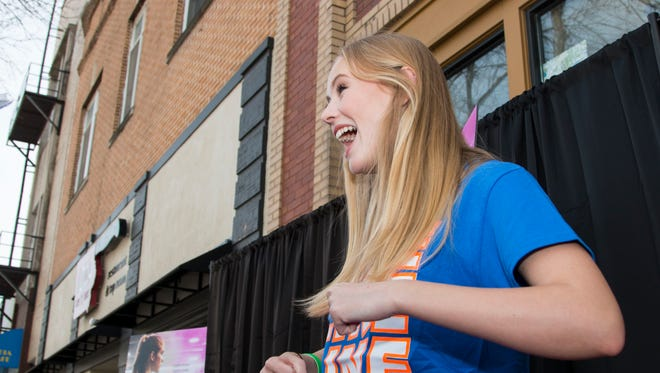 "Danika Yarosh, who plays Caroline Found, attends a premiere of ""The Miracle Season"" at the Englert Theater in Iowa City on Sunday, March 18, 2018. ""The Miracle Season"" tells the story of Iowa City West High volleyball player Caroline Found and the following 2011 season."