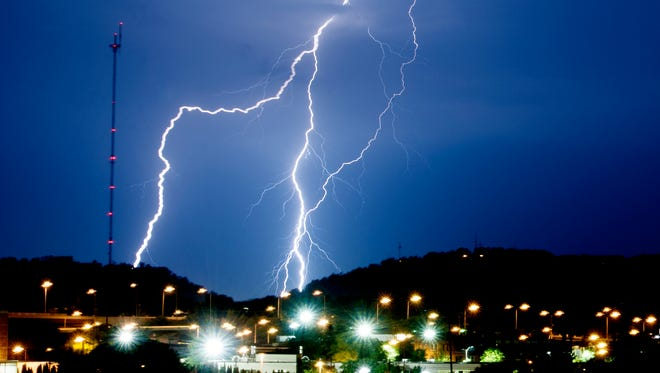 Lightning strikes over Knoxville in a file photo.