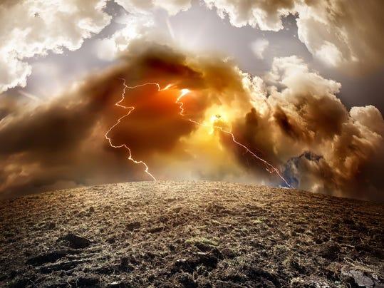 Stormy sky with a lightning strike