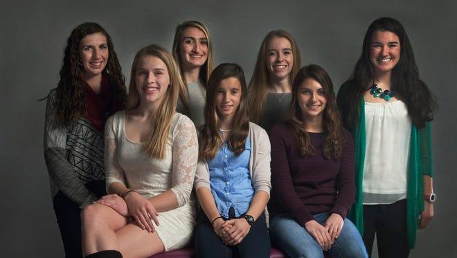 The All-Shore Girls Cross Country Team of (front row) Eryn Mills, Lauren Zodl and Marin Warner; (back row) Nora Honrath, Rachel Lehnert, Niamh Hayes and Mary Kate McNamara.