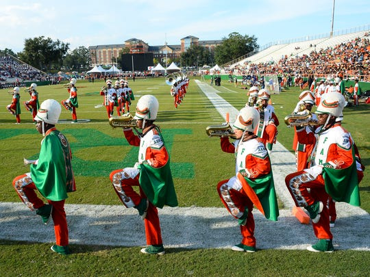 Florida A&M's Marching 100 band prepares to take the field against South Carolina State.
