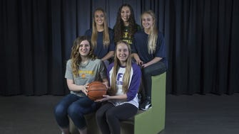 Girls All Shore Basketball Team - Front Row - Kimi Evans, and Hannah Scanlan - Back Row - Dara Mabrey, Josie Larkins, and Stella Clark.