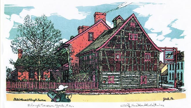 Martin Eichelberger, a native of Germany, constructed the Golden Plough Tavern in York. The York County Heritage Trust dates the building at 1741.