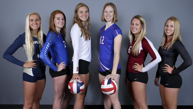 Post-Crescent Media's Sensational 6 preseason top volleyball players (from left) are Jenna Miller, April Gehl, Hope Werch, Sarah Johnshoy, Annika Gereau and Emily Lautenschlager.