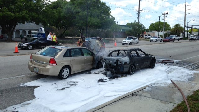 Fort Myers police and fire departments responded to a vehicle fire at Winkler Ave.