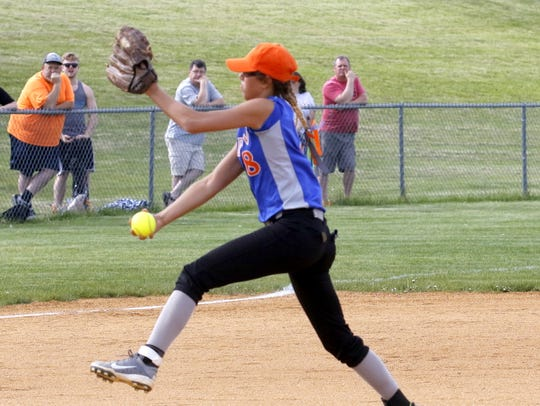 Edison's Mckenzie Slaven delivers a pitch Thursday