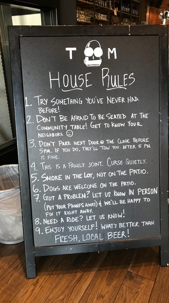 Tin Man display's the house rules following the company's