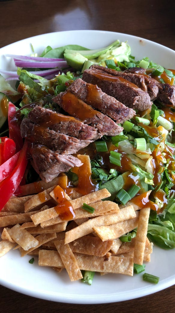 The Thai steak salad at the Crooked Pint Ale House