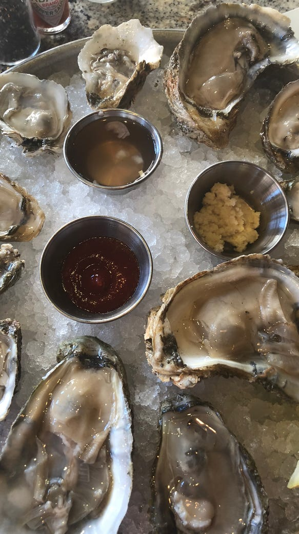 A dozen or so oysters at Plank Seafood Provisions in