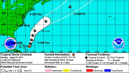 Forecast track for Tropical Storm Cristobal as of 11 a.m. Aug. 25, 2014