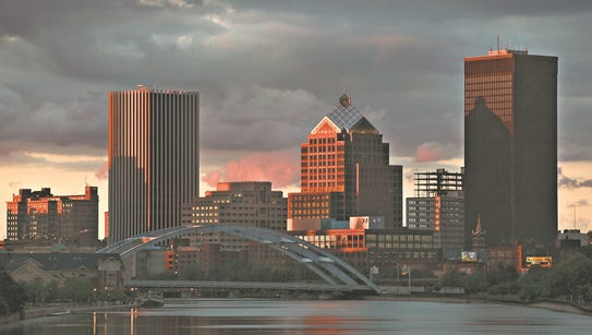 Rochester skyline as seen from the Ford Street Bridge
